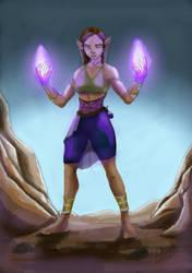 Elf sorceress by Aitolu