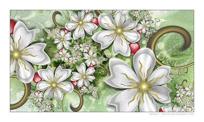 Silver Flowers With Berries by Velvet--Glove