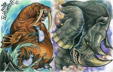 rhino walrus tattoo flash by mikeboissoneault