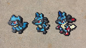 Rioulu Family - Pokemon Perler Bead Sprites by MaddogsCreations