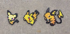 Pikachu Family - Pokemon Perler Bead Sprites by MaddogsCreations