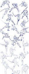 Battle/action poses by Antarija