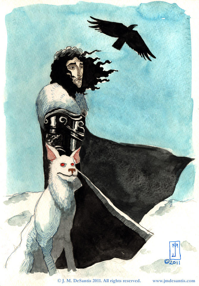 Jon Snow and Ghost by jmdesantis