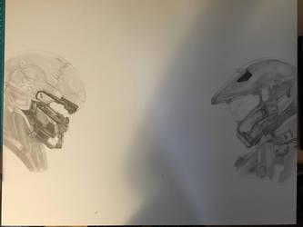 Halo 5 Master Chief and Spartan Locke (Progress 4) by CloudZeroArt