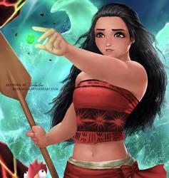 Moana and Heihei - The Heart of Te Fiti by zenkanjia