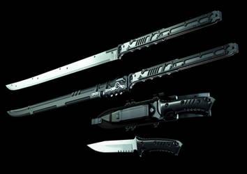 jinroh catana and combat knife by MUKKELKATZE