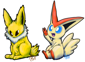 Jolteon and Victini :KC: by Dragowl