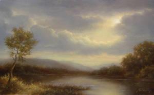 The Lake Towards Sunset by PaulAbrams
