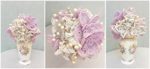 Pastel purple and white hand beaded bouquet by EverAfterArtisanry