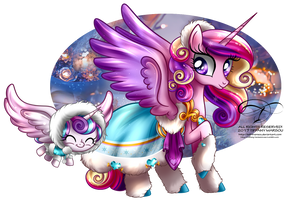 Winter Pony - Princess Cadence and Flurry Heart by tiffanymarsou