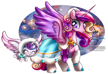 Winter Pony - Princess Cadence and Flurry Heart by tiffanymarsou