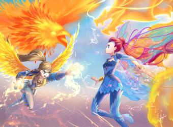 Commission:Fire - Katrine vs Bloom by fantazyme