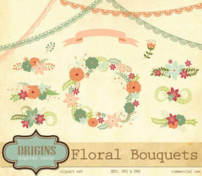Floral Bouquets Vector and PNG Clipart by DigitalCurio