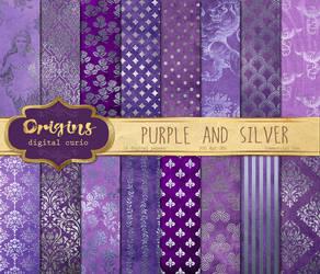 Purple and Silver Digital Paper by DigitalCurio