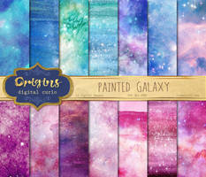 Painted Galaxy Backgrounds by DigitalCurio