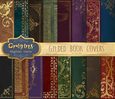 Gold Gilded Book Covers 5x7 Digital Paper by DigitalCurio
