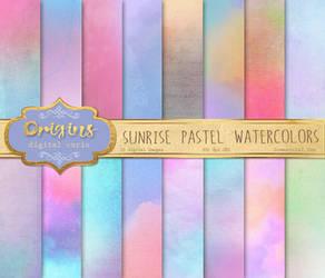 Sunrise Pastel Watercolor Textures by DigitalCurio