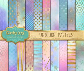 Unicorn Pastels Digital Paper by DigitalCurio