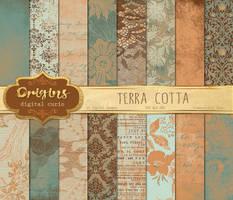 Terra Cotta Texture Digital Paper by DigitalCurio