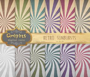 Retro sunburst digital paper by DigitalCurio