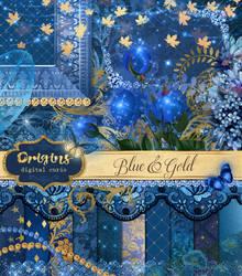 Blue and Gold Digital Scrapbook Kit by DigitalCurio