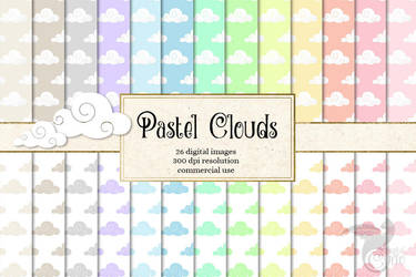 Pastel Clouds Digital Paper by DigitalCurio