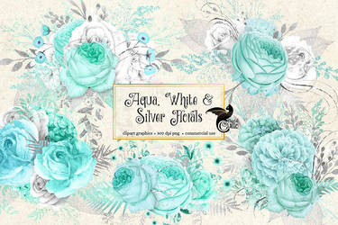 Aqua, white and silver floral clipart by DigitalCurio