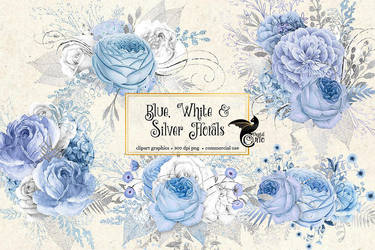Blue, white and silver floral clipart by DigitalCurio