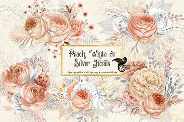 Peach, white and silver floral clipart by DigitalCurio