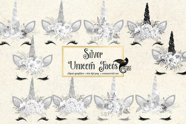 Silver Unicorn Faces Clipart by DigitalCurio