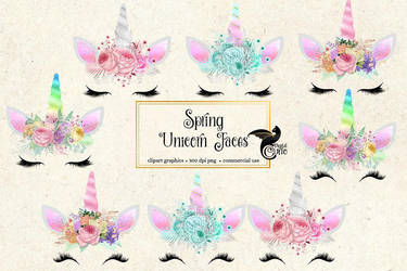 Spring Unicorn Faces Clipart by DigitalCurio