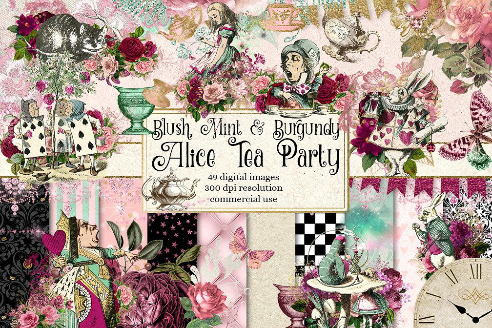 Blush Pink and Mint Alice Tea Party by DigitalCurio