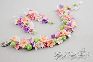 Set with flowers from polymer clay by polyflowers