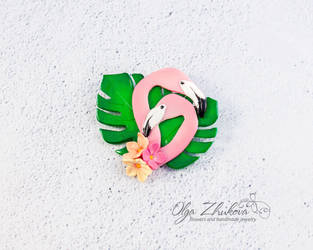 Flamingo brooch by polyflowers