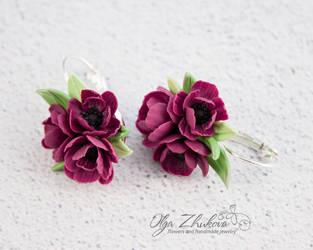 Earrings marsala flowers by polyflowers