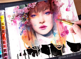 Watercolor Portrait - Petal by Laovaan
