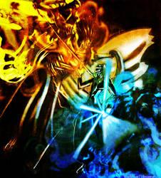 Kenpachi Vs. Kurosaki ichigo by BlueDemon13