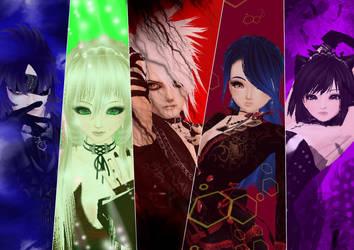 my 5 crimson's by Rikien