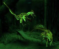 Sinornithosaurus hunting by Fafnirx