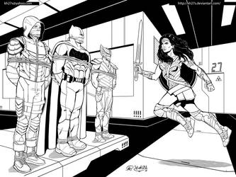 Commission: Wonder Woman to the Rescue! - Inks by kh27s