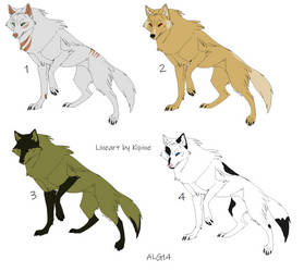 6 Point Wolf Adoptables Batch 4 (OPEN) by Animelovinggirl14