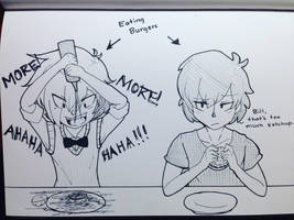 Bill and Dipper Eating Burgers by maeven3