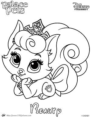 Beauty Princess Palace Pet Coloring Page SKGaleana by SKGaleana