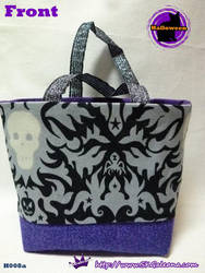 Handmade Tiny Tote bag Featuring Dark skull by SKGaleana