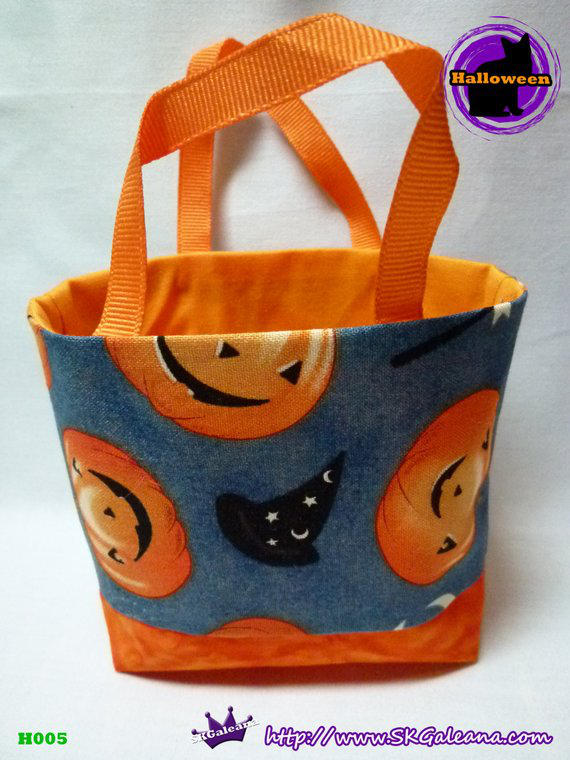 Handmade Tiny Tote Bag Featuring Jack-O-Lantern by SKGaleana