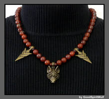 TRIBAL WOLF AND ARROWHEADS ON GEMSTONE NECKLACE by GoodSpiritWolf