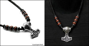 Large Mjolnir Thor's Hammer on Warrior Necklace by GoodSpiritWolf