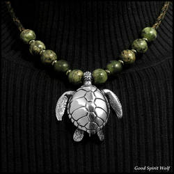 Large Sculpted Sea Turtle Tribal Beaded Necklace by GoodSpiritWolf