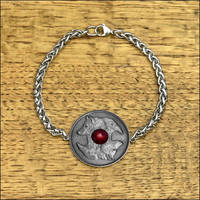 Wolf and Raven Coin on Viking Braid Chain Bracelet by GoodSpiritWolf