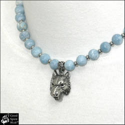 Nordic Wolf Necklace w/ Blue Larimar Quartz Beads by GoodSpiritWolf